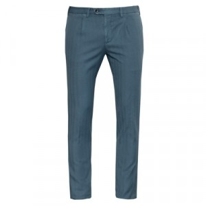 Germano Herringbone Trousers Petrol