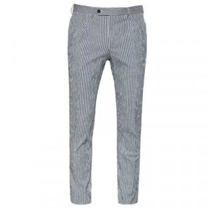 Germano Pleated Striped Trousers Navy
