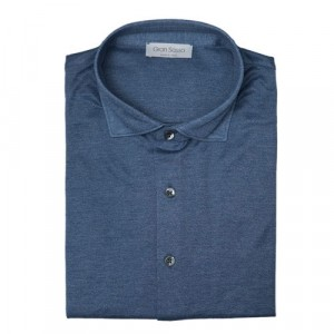 Gran Sasso Shirt Jersey Mid-Blue Melange