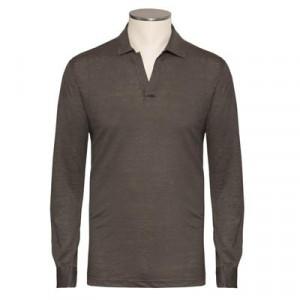 Gran Sasso Linen V-neck Polo Green-Brown