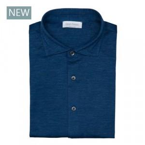 Gran Sasso Shirt Jersey Blue-Melange