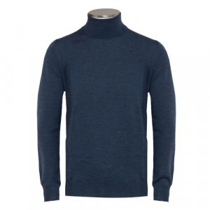 Gran Sasso Roll-Neck Extrafine Merinos Mid Blue