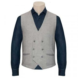 Gran Sasso Gilet Herringbone Light-Grey