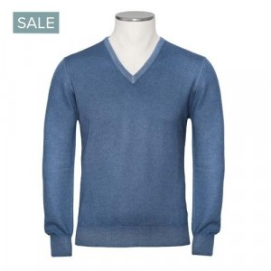 Gran Sasso Cashmere V-Neck Blue