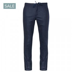 Incotex Flannel Drawstring Trousers Blue