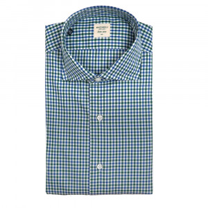 Mazzarelli Shirt Green Blue Check