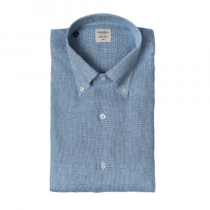 Mazzarelli Shirt Houndstooth Blue