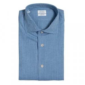 Mazzarelli Shirt Herringbone Blue