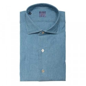 Mazzarelli Shirt Washed Denim Light Blue