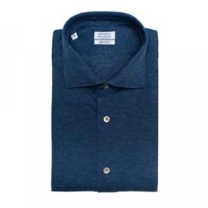 Mazzarelli Shirt Jersey Pique Cotton-Cashmere Mid Blue
