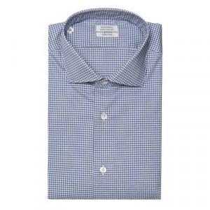 Mazzarelli Shirt Pied-de-Poule Blue