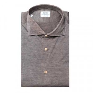Mazzarelli Shirt Pique Brown Melange
