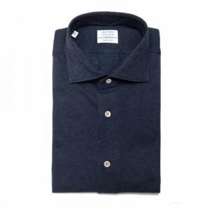 Mazzarelli Shirt Jersey Pique Cotton-Cashmere Dark Blue