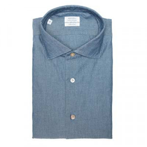 Mazzarelli Shirt Chambray Denim Blue