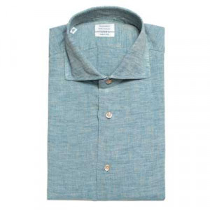 Mazzarelli Washed Linen Shirt Blue-Beige
