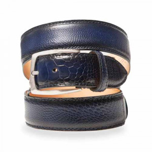 Paolo Vitale Ostrich Leg Belt Blue