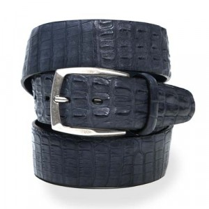 Paolo Vitale Genuine Crocodile Belt Grey-Blue