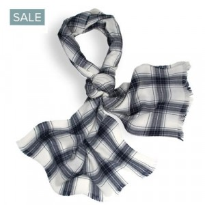 Roda Scarf Checked Wool White