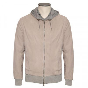 Barba Napoli Hooded Suede Bomber Sand