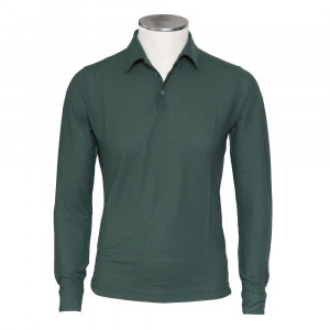 Zanone Ice Cotton Polo Long Sleeve Green