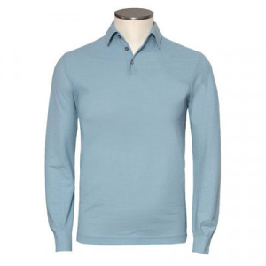 Zanone Ice-Cotton Polo Longsleeve Light-Blue