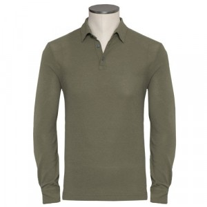 Zanone Polo Ice-Piquet Long Sleeve Olive Green
