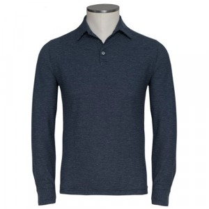 Zanone Ice-Cotton Long Sleeve Navy Stripe