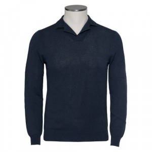 Zanone Polo V-Neck Blue