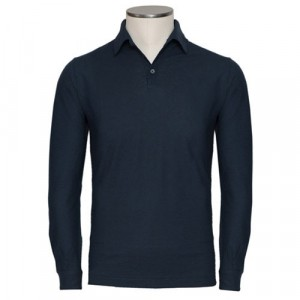 Zanone Ice-Cotton Polo Long Sleeve Navy
