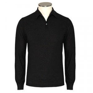 Zanone Ice Cotton Polo Longsleeve Black