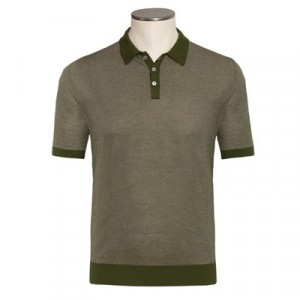 Zanone Knitted Polo Green