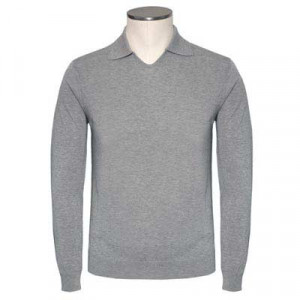 Zanone Polo V-neck Cotton Grey