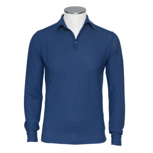 Zanone Ice Cotton Polo Long Sleeve Blue