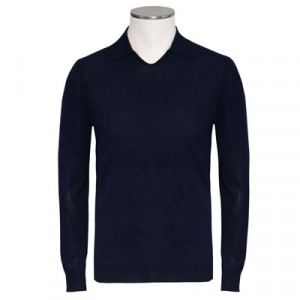 Zanone Polo V-neck Cotton Navy