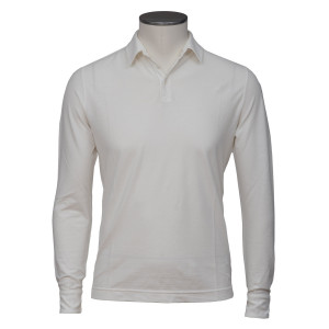 Zanone Ice Cotton Polo Long Sleeve Off White