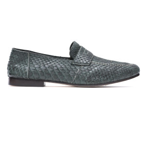 Andrea Ventura Python Loafers Green