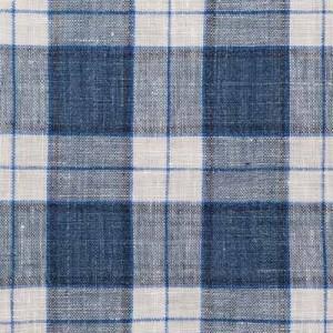 Barba Napoli Blue Check Linen Shirt