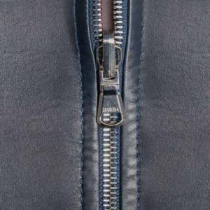 Barba Napoli Leather Down Coat Blue Navy