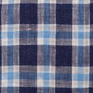 Mazzarelli Linen Shirt Checkered Blue